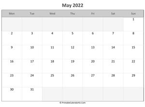 Editable May 2022 Calendar.May 2022 Calendar Templates